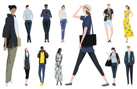 Fashionable People Standing In Different Poses. Easy To Use Vector Flat Illustration Set Isolated On A White Background. 向量圖像