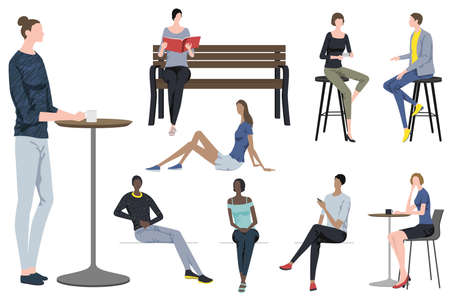 Fashionable People Taking A Break In Different Poses. Easy To Use Vector Flat Illustration Set Isolated On A White Background.