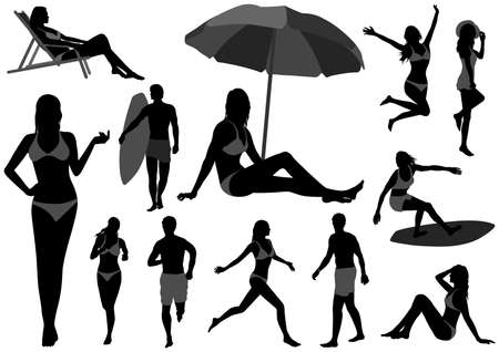 Vector silhouette Illustration Set With Young Woman And Men In Swimsuits Isolated On a White Background. Easy To Use Illustration Set Isolated On A White Background.