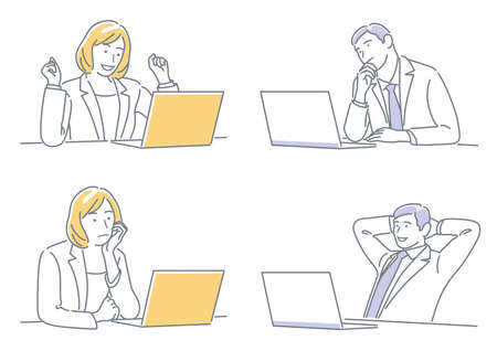 Businessman And Business Woman Working On Their Laptops Expressing Different Emotions. Easy To Use Simple, Flat Vector Illustration Set Isolated On A White Background.