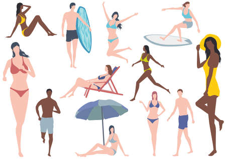 Vector flat Illustration Set With Young Women And Men In Swimsuits Isolated On a White Background. Easy To Use Illustration Set Isolated On A White Background. 向量圖像