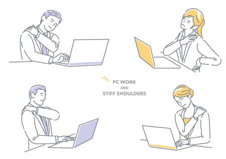 Businessman And Businesswoman Working On Laptop Computer Having Stiff Shoulders. Easy To Use Vector Flat Illustration Isolated On A White Background.