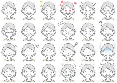 Businesswoman Vector Various Facial Expressions Set Isolated On A White Background. Easy To Use Clipart Set Isolated On A White Background.