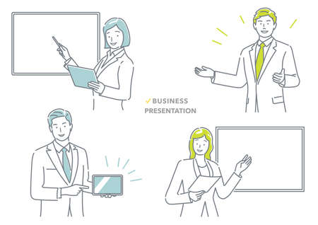 Business People Making A Presentation, Vector Illustration Set. Easy To Use Illustration Isolated On A White Background. 向量圖像