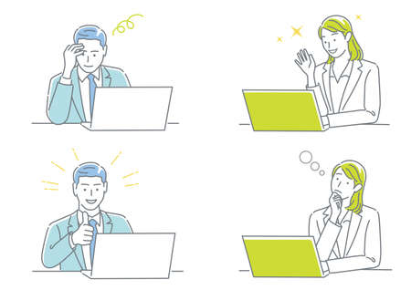 Businessman And Business Woman Working On Their Laptops Expressing Different Emotions Isolated On A White Background Set