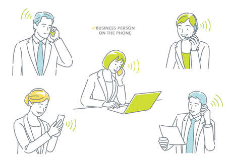 Businessman And Businesswoman Talking On The Phone. Easy To Use Simple, Flat Vector Illustration Set Isolated On A White Background. 向量圖像
