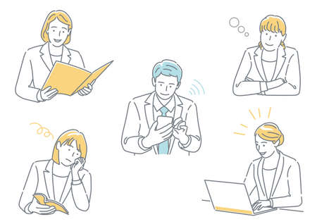 Set Of Businesspeople Working In Their Office Expressing Different Emotions Isolated On A White Background.