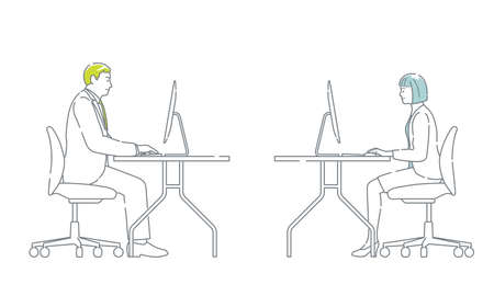 Business People Working At The Desks With Computers. Easy To Use Simple, Flat Vector Illustration Set Isolated On A White Background.