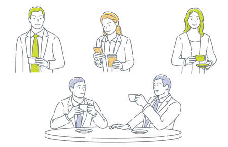 Set Of Businesspeople Taking A Coffee Break Isolated On A White Background.