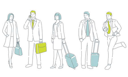 Business People In Action. Easy To Use Simple, Flat Vector Illustration Set Isolated On A White Background. 向量圖像