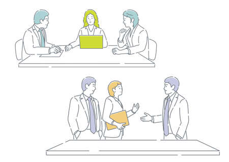 Business People In Meeting. Easy To Use Simple, Flat Vector Illustration Set Isolated On A White Background.