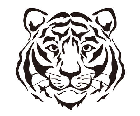 Black And White Vector Tiger Head Illustration Isolated On A White Background.