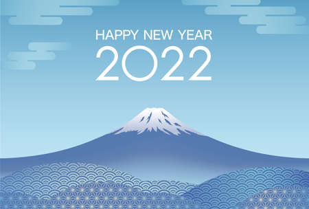 The Year 2022 New Year's Card Vector Template With Blue Sky And Mt. Fuji Decorated With Vintage Japanese Pattern. 向量圖像