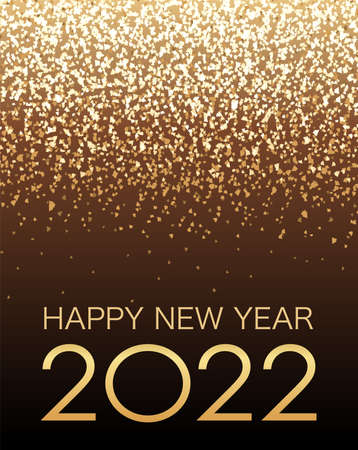 Vector Background Illustration Celebrating The Year 2022 With Gold Glitter Particles Light. 向量圖像
