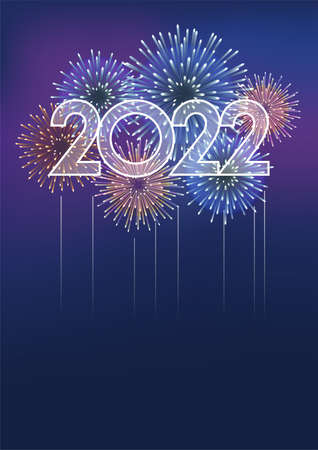 The Year 2022  And Fireworks With Text Space On A Dark Background. Vector illustration Celebrating The New Year.