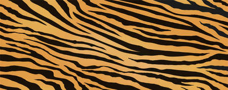Tiger Skin Seamless Vector Illustration. Horizontally And Vertically Repeatable. Exotic Animal Skin Pattern With Black Stripes.