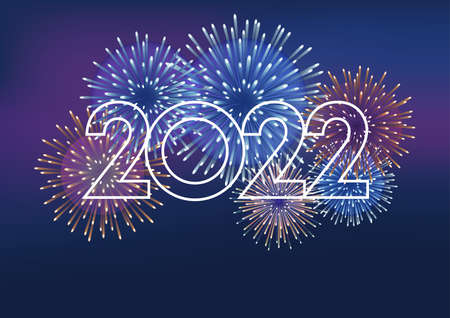 The Year 2022 Logo And Fireworks With Text Space On A Dark Background. Vector illustration Celebrating The New Year.