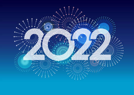 The Year 2022  And Fireworks With Text Space On A Blue Background. Vector illustration Celebrating The New Year.