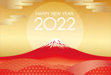 The Year 2022 New Year's Greeting Card Vector Template With Red Mt. Fuji And The Rising Sun On A Gold Background.