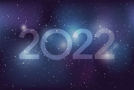 The Year 2022 New Year's Greeting Card Template With Milky Way Galaxy, Stars, And Nebula. Vector Illustration.