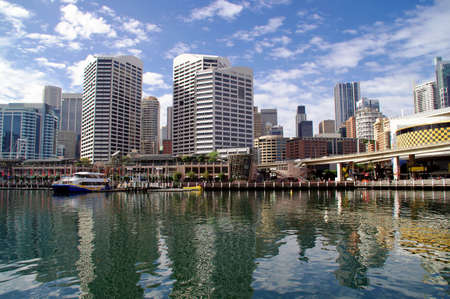 View of Darling Harbor, Sydney, Australia, on a sunny day