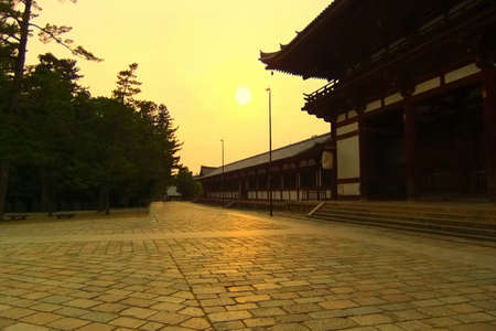 A view of the gates to famous Todaiji in Nara at sunset Stock Photo - 7532207