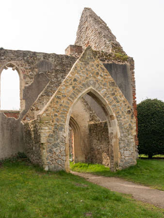 A burnt down and abandoned church in the lovely Essex village of Alresford Stock Photo