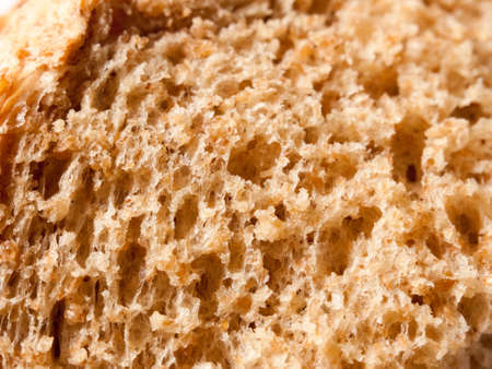 close up texture of soft brown bread studio