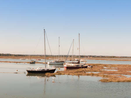several private big boats parked in estuary with masts; essex; england; UK