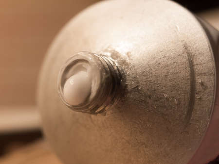 close up of moisturizer cream coming out of tube end; essex; england; uk