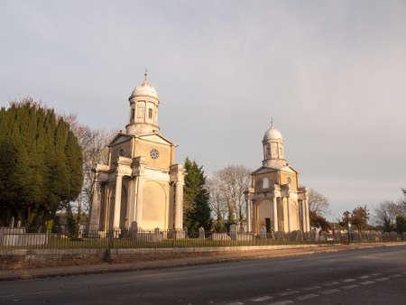 mistley church towers old historical buildings architecture burnt down antique landmark tourism; essex; england; uk