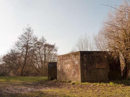old war bunker marked graffiti no people old retro abandoned damage park public; essex; england; uk