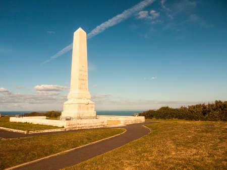 wartime statue cenotaph isle of portland dorset south coast blue sky clouds soldiers world war; Dorset; England; UK Stock fotó