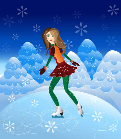 patins � glace: illustration de fille sur patins � glace