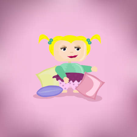 tiredness: illustration of cartoon girl on a pink background Illustration