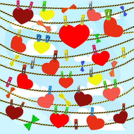 card on valentine day with a lot of hearts on clothespins