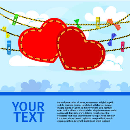 card on valentine day with a pair of decorative hearts on sky background Illustration