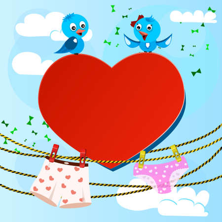 card on valentine day with heart and women's and men's briefs Vector