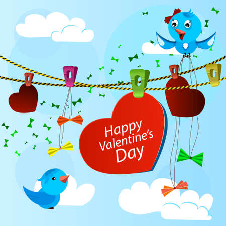 card on valentine day with heart and blue birds Illustration