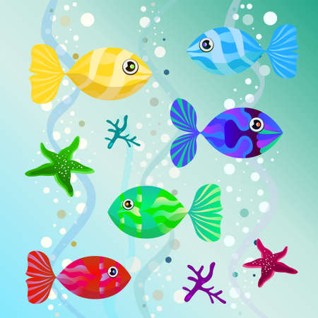 illustration depicting unusual multicolored fish in water. vector Vector