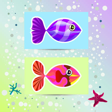 illustration depicting unusual multicolored fish on stickers. vector Vector
