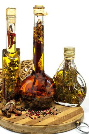 heathy diet: different spiced oil in nice bottles