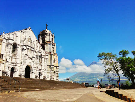 mayon: Daraga church with mt mayon in the background.