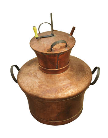 obtain: Copper boiler isolated on white background, used to obtain palinca, a romanian traditional brandy