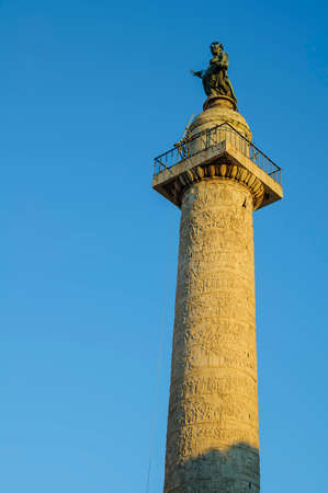 Trajans Column  commemorates Roman emperor Trajans victory in the Dacian Wars, is located in Trajans Forum. photo