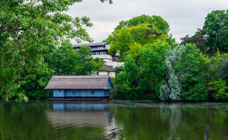 Boathouse in spring season in Herastrau lake, Bucharest photo