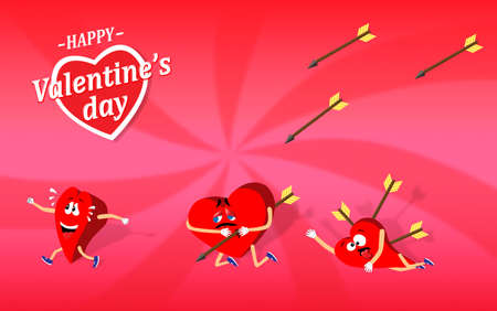 struck: Valentines day cartoon showing how someones heart is struck by arrows of passion and love