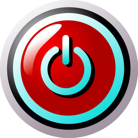Power symbol button red and turquoise circular Stock Vector - 5316696