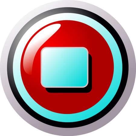 boton stop: Bot�n rojo de parada y turquesa