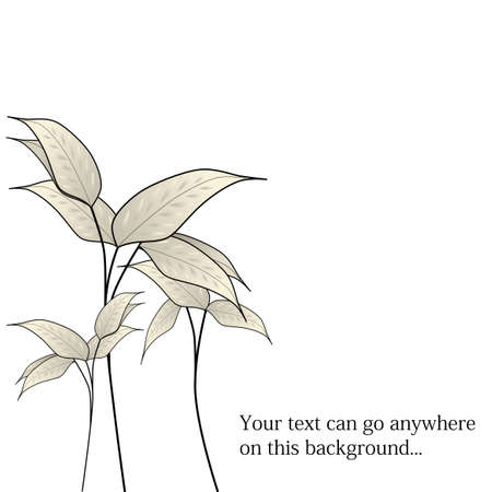 editable eastern asia: Japanese leaves with editable text vector. Illustration